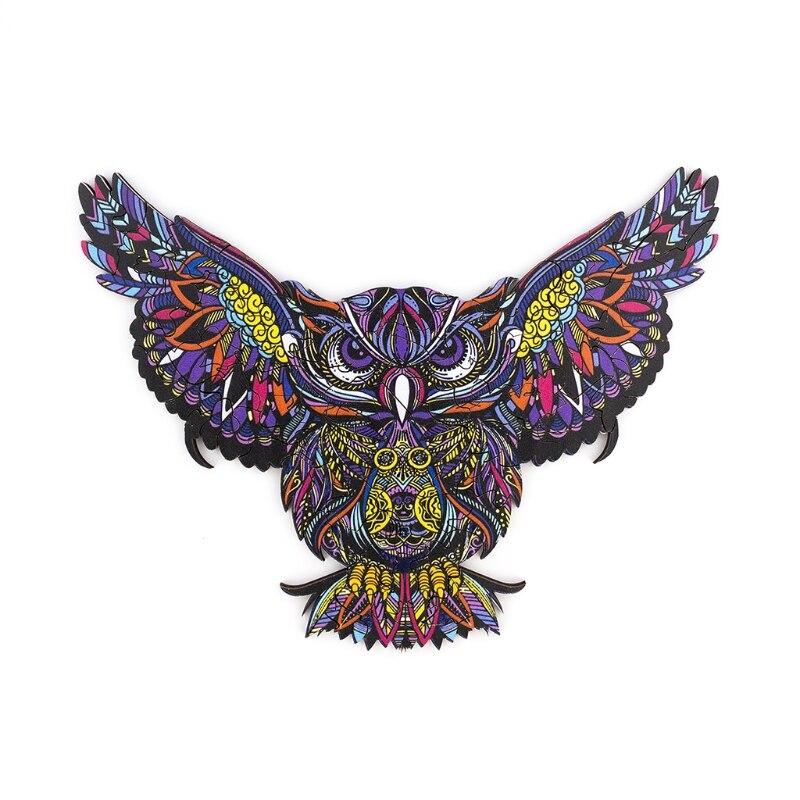 quebra cabeca colecionavel de madeira q9qb coruja voadora e em forma animal 3d pintura
