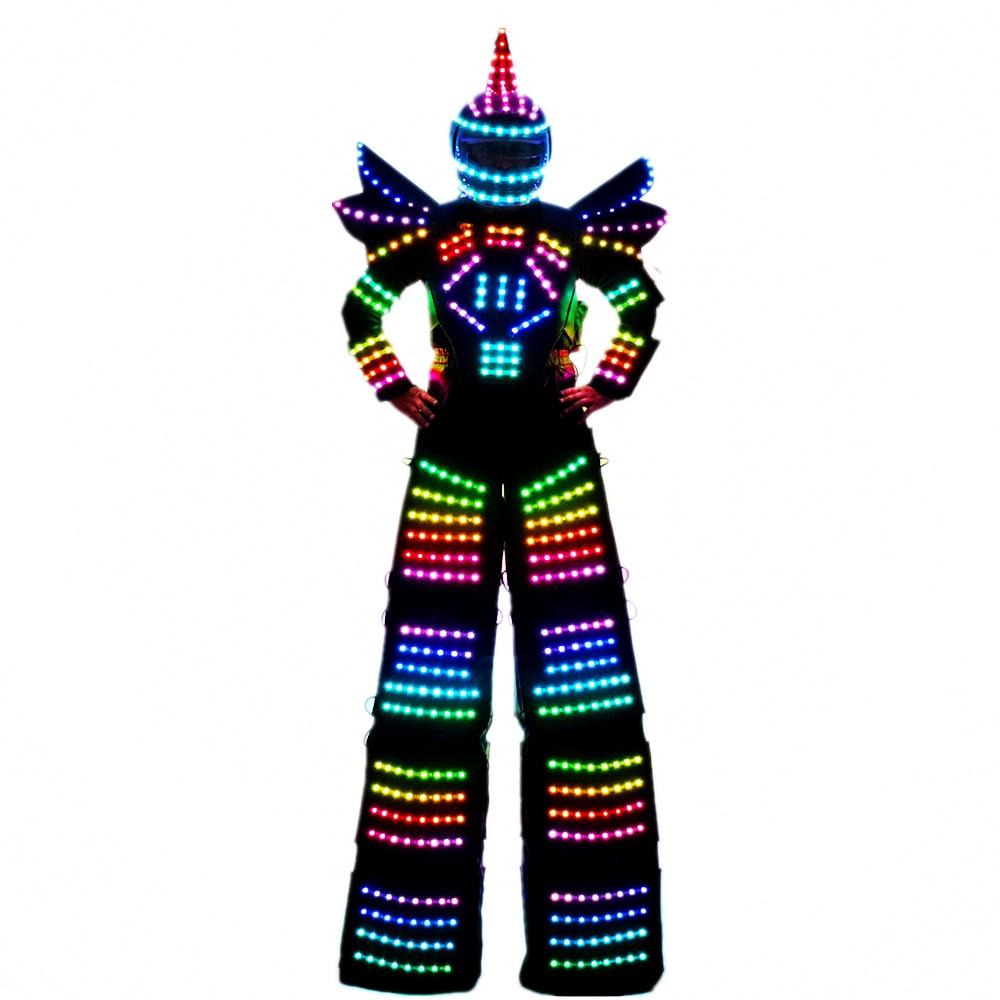 Full Color Pixel LED Robot Costume Clothes Stilts Walker Costume LED Suit Costume Helmet Laser Gloves CO2 Gun Jet Machine