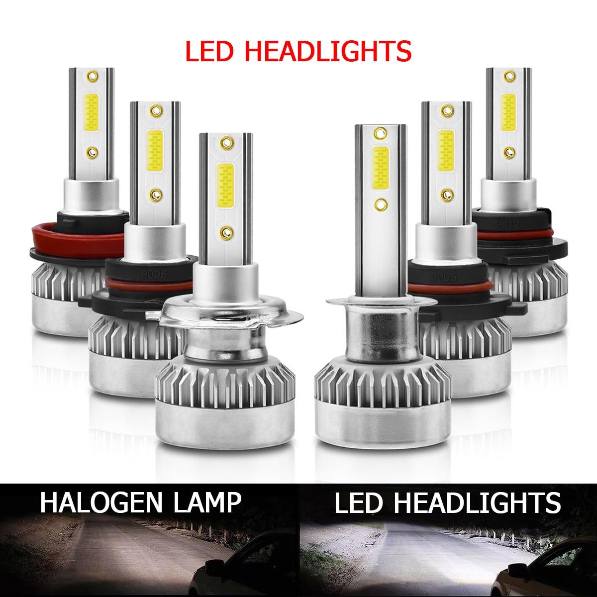 2 шт., автомобильные фары, лампы H7, фары H1 H11 H8 H9 9006 HB4 H4 9005 9012 светодиодный лампы с чипом CSP, 6000 лм, Автомобильные противотуманные фары K