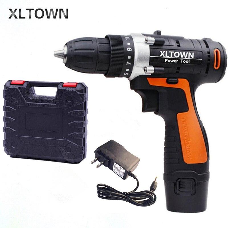 XLTOWN12/16,8/21V taladro eléctrico inalámbrico, destornillador eléctrico de batería de litio recargable multifunción, herramienta eléctrica para el hogar
