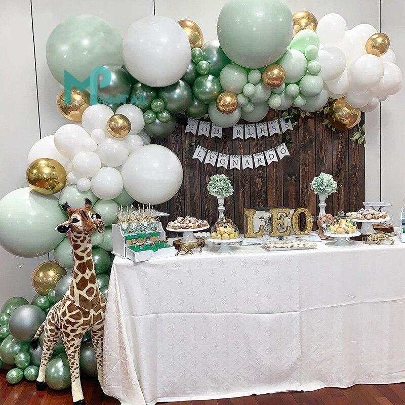 Juego de 107 Uds. De globos de jungla para fiesta, guirnalda de Macaron, Blanco menta, dorado, verde, globo, arco para cumpleaños, decoraciones bodas fiestas