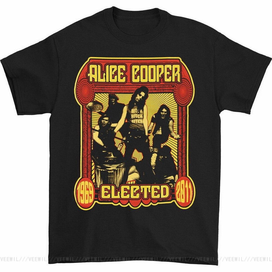 Alice Cooper hombres elegidos banda Tops Tee T camisa negro Tops cómodos...