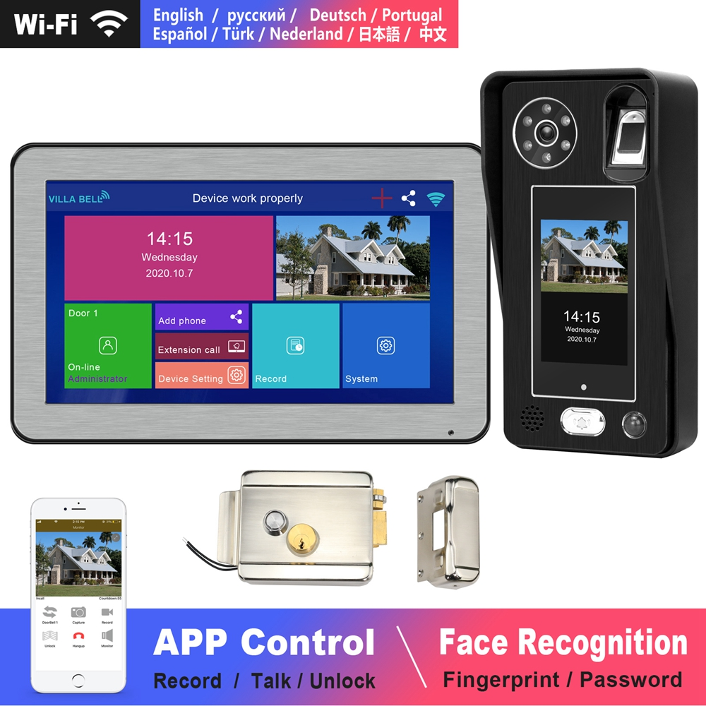 WIFI Video Intercom Face Recognition IP Doorbell Wireless Home Intercom with lock Touch Screen Fingerprint Password Night Vision