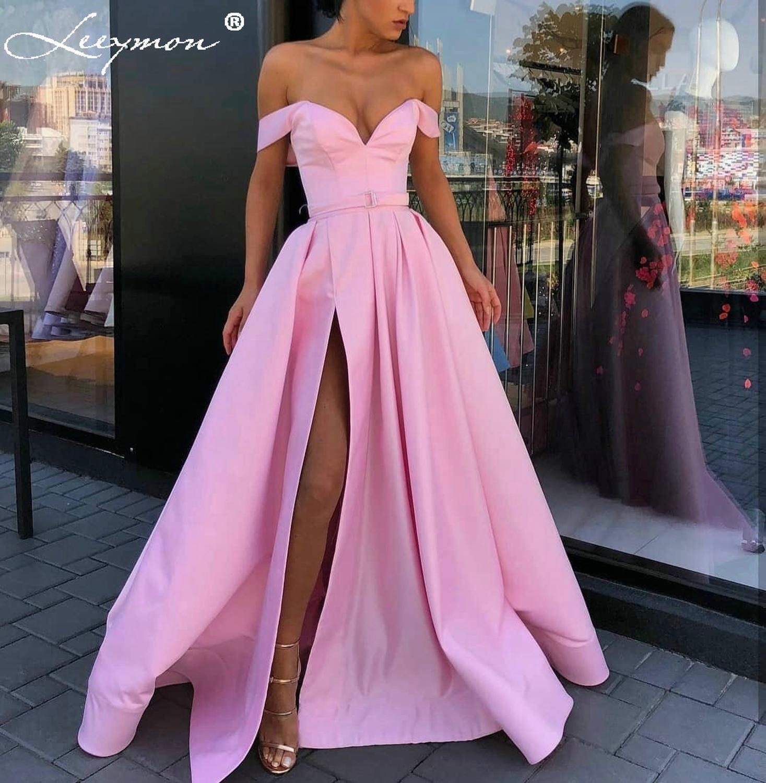Leeymon-فستان سهرة ساتان ، خط a ، أكتاف عارية ، شق عالي ، ملون ، طويل ، طول الأرض