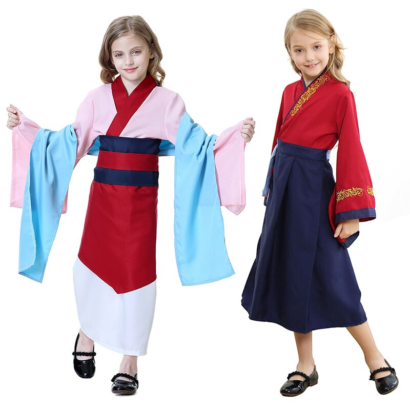 2020 New Hua Mulan Dress Girls Movie Cosplay Outfit Red Pink Princess Dresses Halloween Costume Kids Mulan Classic Children Sets