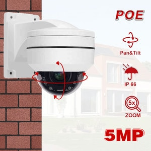 POE PTZ Camera Outdoor Metal Mini 5MP Home Security IP Camera 5X Optical Zoom Speed Dome Camera P2P Support Hikvision Protocl