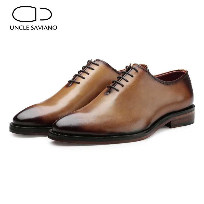 العم سافيانو أكسفورد أحذية رجل جلد طبيعي فاخر الزفاف أفضل الرجال فستان موضة العريس الأعمال اليدوية حذاء رجالي