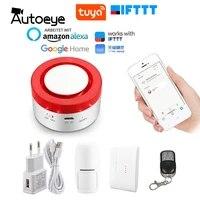 Systeme dalarme de securite domestique intelligent  wi-fi  433MHz  sans fil  sirene stroboscopique  Compatible avec Alexa  Google Home  IFTTT  application Tuya