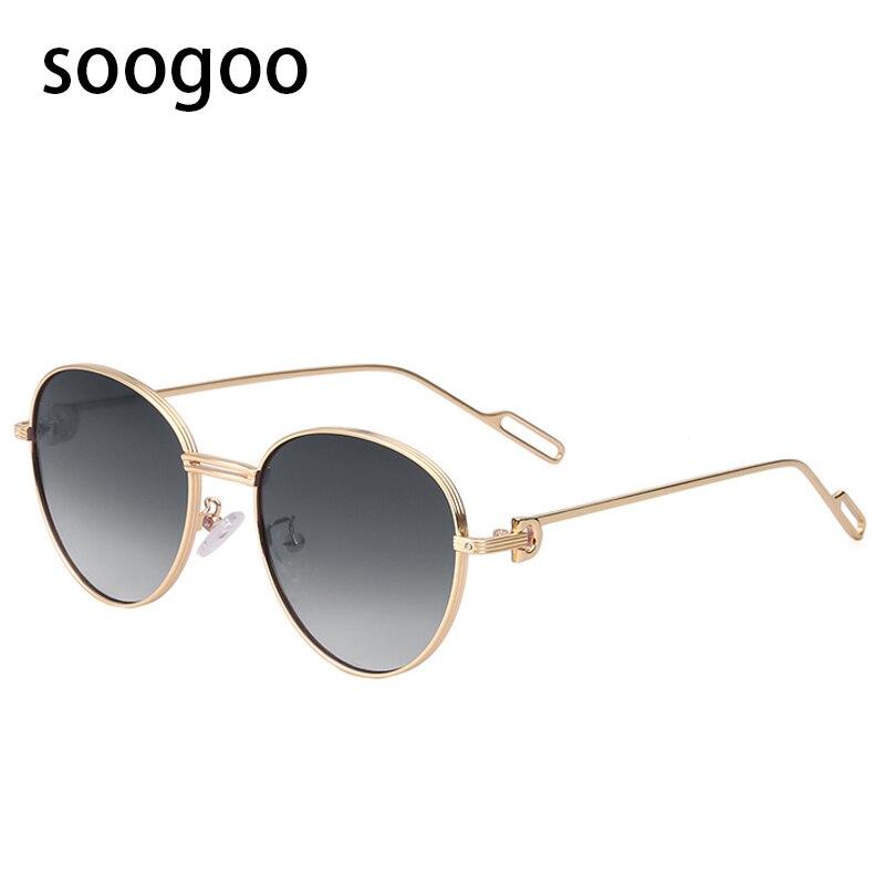 Модные Винтажные круглые женские солнцезащитные очки мужские металлические роскошные брендовые дизайнерские солнцезащитные очки стильны...