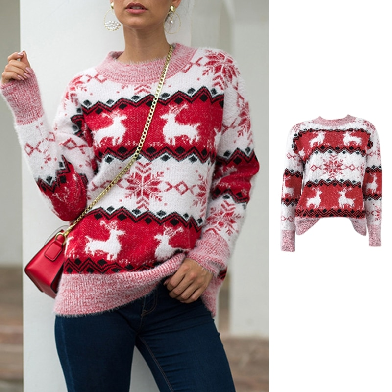 Women Ugla Christmas Knitted Sweater Reindeer Snowflake Holiday Loose Jumper Top enlarge