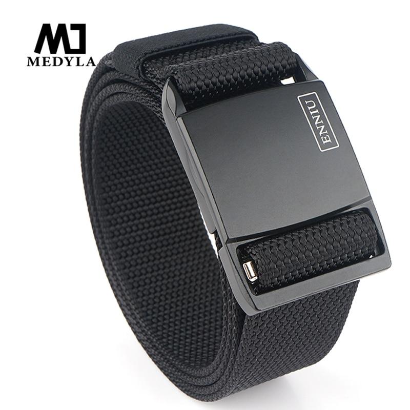 Nuevo cinturón táctico para hombre MEDYLA 2020, hebilla magnética negra mate de Metal duro, cinturón militar de nailon suave con textura antideslizante para hombres