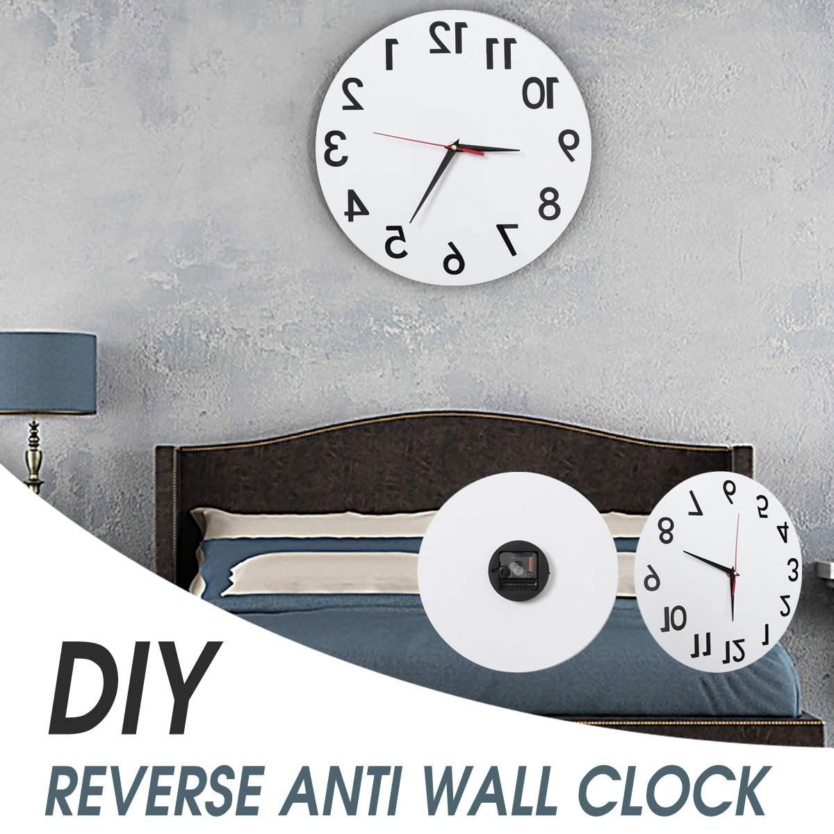 Reverso anti relógio de parede moderno para trás tempo executar anti relógio de parede no sentido horário diy