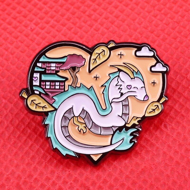 Dragón Haku esmalte pin en espíritu broche de inspiración studio ghibli carácter pin