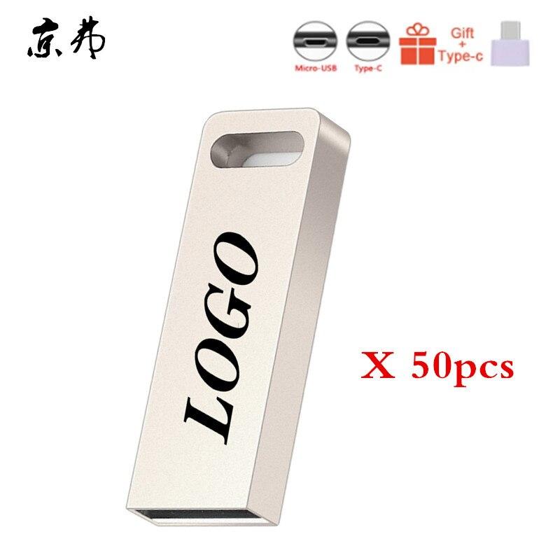 Metal 50pcs Usb Flash Drive 32GB 16GB Pendrive 4GB 128MB Waterproof Pen Drive 8GB Flash Usb2.0 Memoria Usb Stick Key Custom Logo