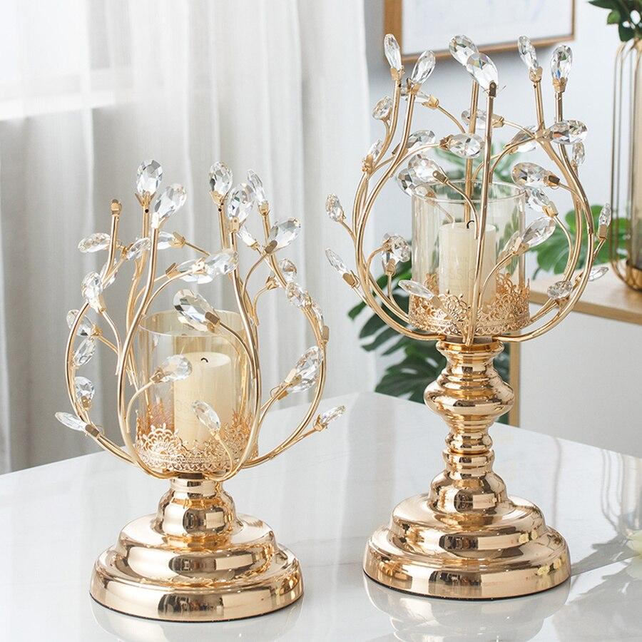 Candelabro de cristal decorativo con una sola cabeza dorada, portavelas de cristal,...