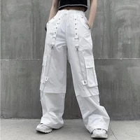 white joggers women cargo pants vintage high waisted trousers straight leg long pants leggings with pockets korean clothes