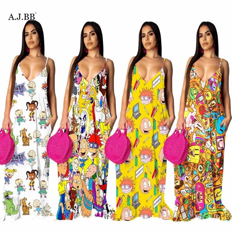 Europeu e americano casual dos desenhos animados vestido de impressão moda solta u-neck sling sem mangas colete feminino saia longa grande saia balanço