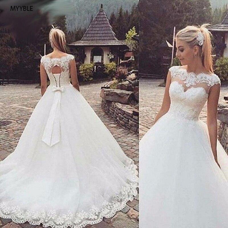 Myyble sem costas manga curta boné boêmio vestidos de casamento 2021 plus size vestido de noiva feito sob encomenda