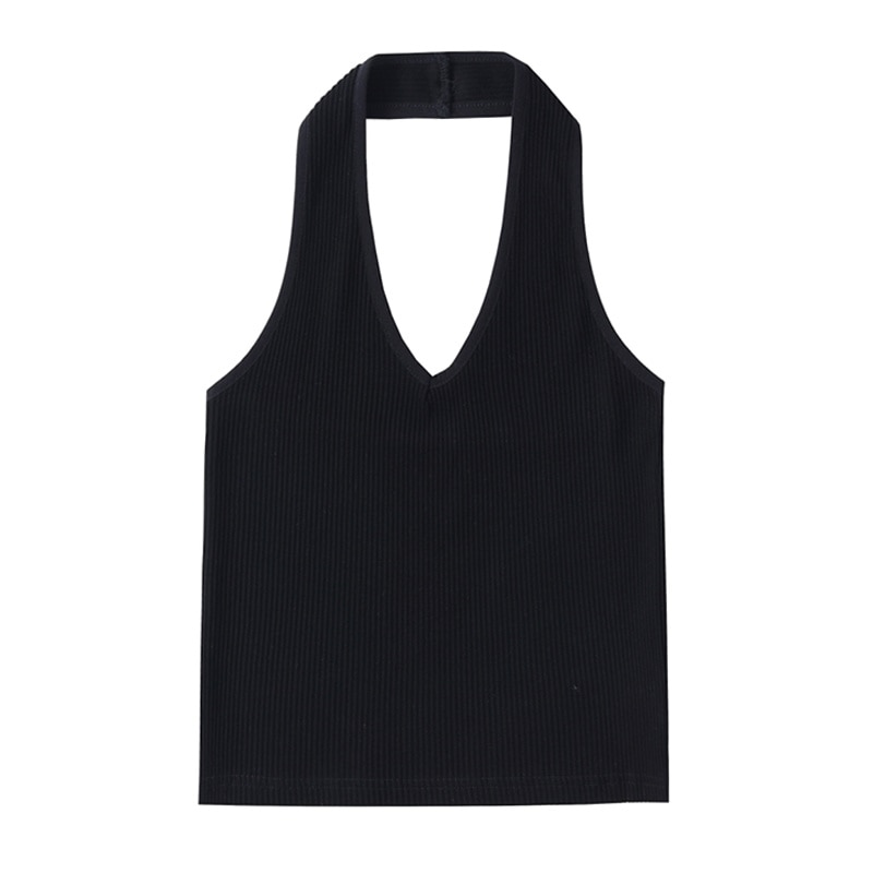 Women's Knit Vest Self-made Hanging Neck Sling 2021 Summer New Slim And Thin Elastic Waistcoat With