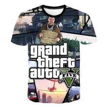 2020 nouveau 3D impression Grand vol Auto jeu Gta 4/5 imprimé T-Shirt enfants à manches courtes T-shirt garçon fille enfants T-Shirt 100-160 siz