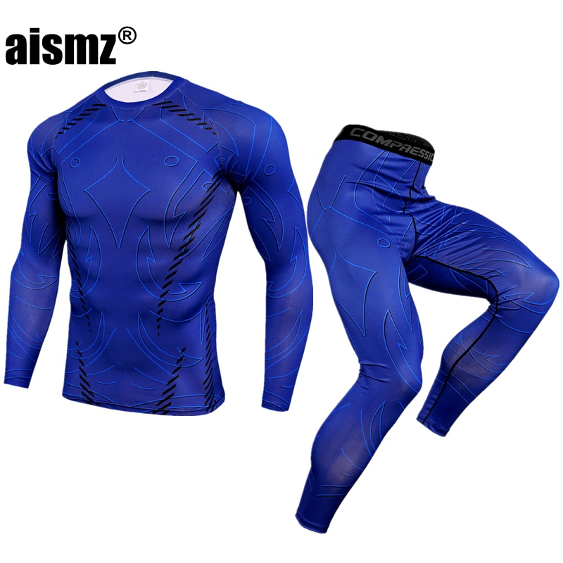 Aismz Thermal Underwear Men Sets Quick Dry Stretch Thermo Underwear Compression Warm Male Long Johns