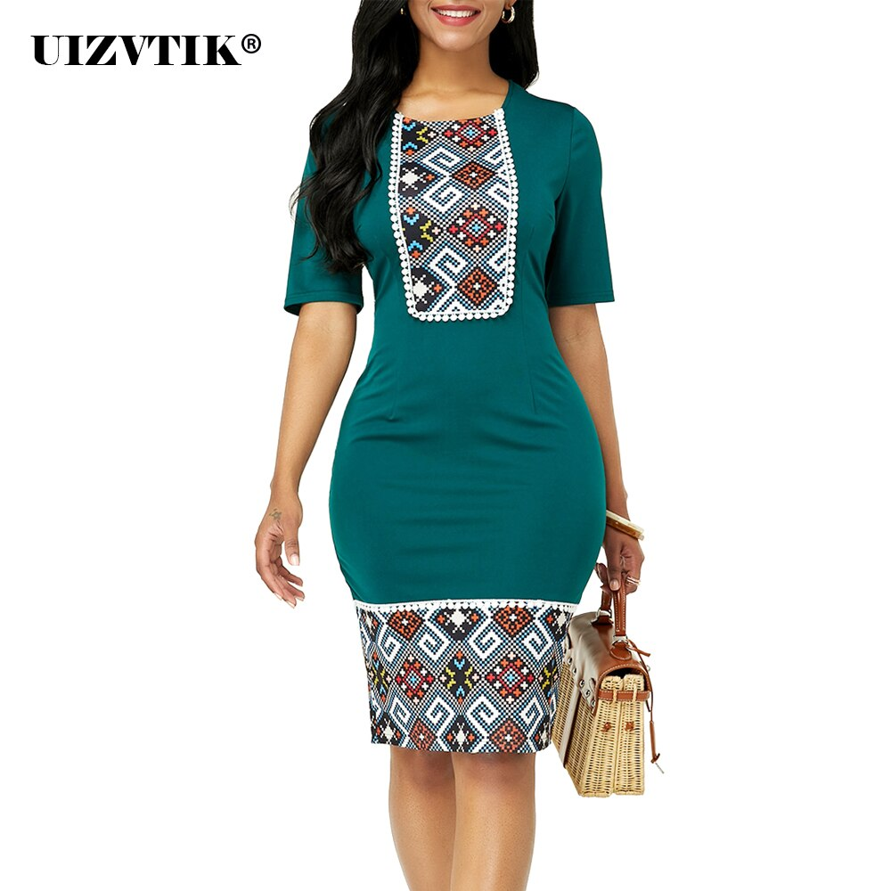 Summer Dress Women 2020 Casual Plus Size Slim Ethnic Print Office Pencil Bodycon Dresses Elegant Sexy India Women Party Dress