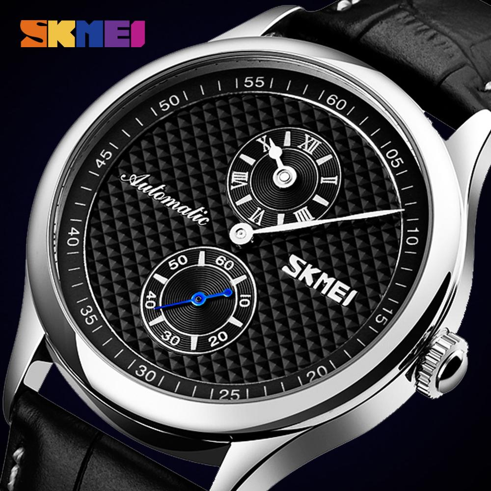 Dial Hollow Automatic Mechanical Watches Men Business Casual Mens Wristwatch Leather Strap Quartz Watch SKMEI Relogio Masculino