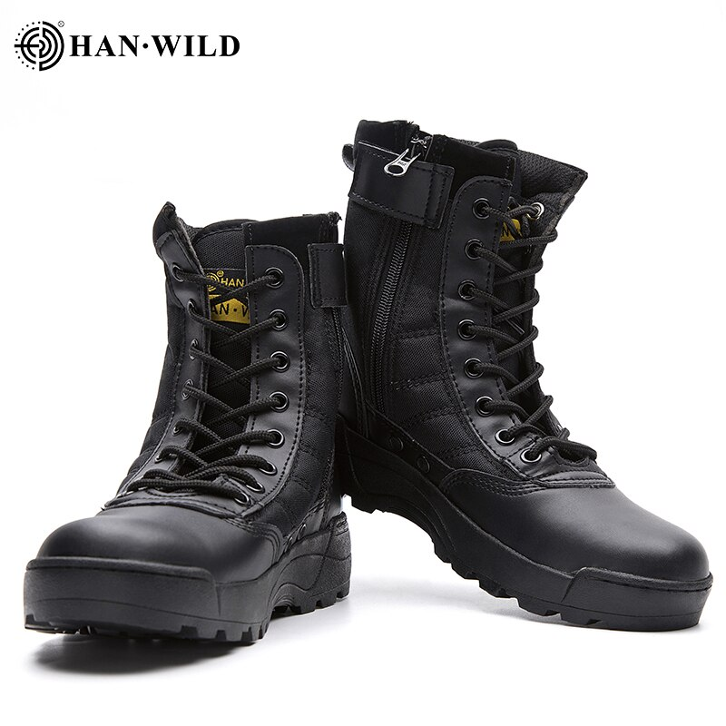 HAN WILD Tactical Military Boots Men Genuine Leather US Army Hunting Trekking Camping Mountaineering Winter Work Shoes Hombre