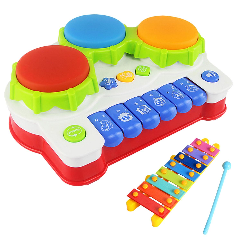 Batería de bebé Piano instrumento de música juguetes teclado Musical instrumento con mini xilófono para niños Juguetes Educativos de aprendizaje preescolar