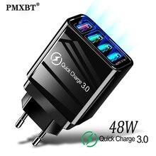 Cargador rápido 48W QC 3,0 USB para Samsung A50 iPhone 11 Xiaomi mi 9 Tablet 4 puertos cargador rápido de pared US EU UK enchufe adaptador