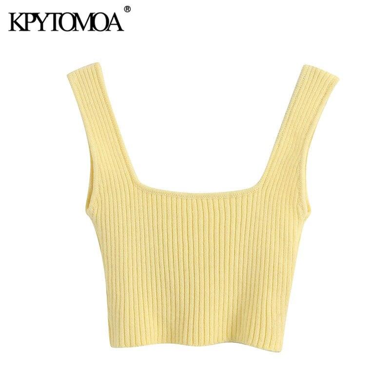 KPYTOMOA mujeres 2020 dulce moda Stretch Slim knit Cropped blusas Vintage cuadrado Collar correas Mujer Camisas Chic Tops