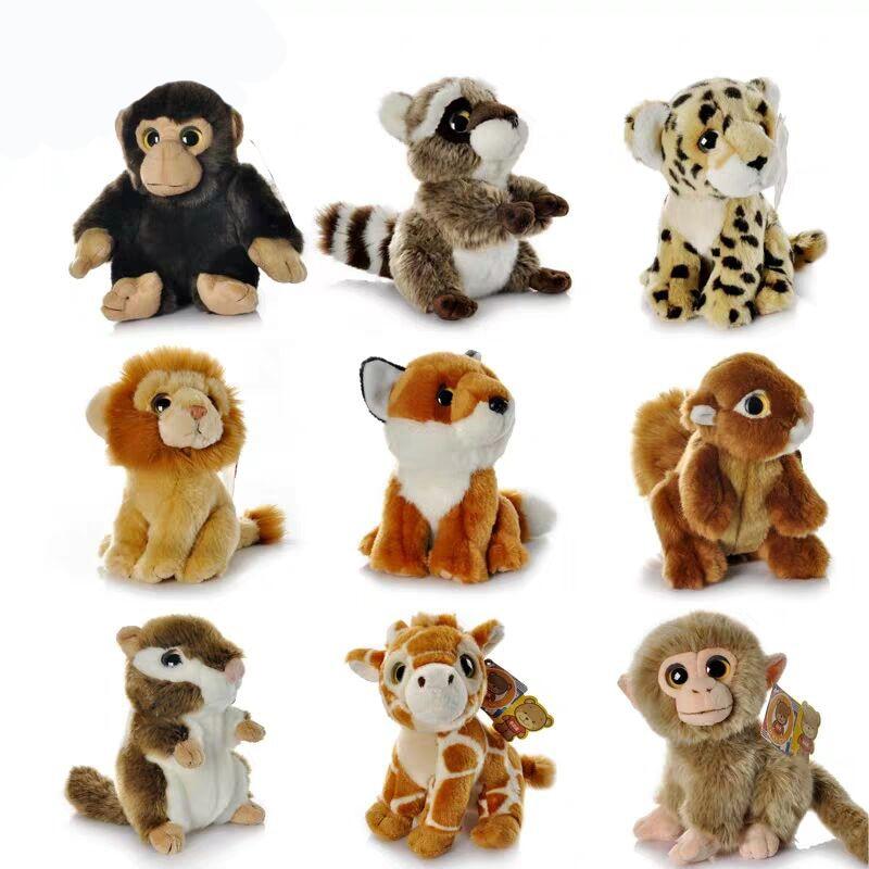 """7 """"реалистичные дикие животные тигр, лев, леопард Плюшевые игрушки Мини милый енот Ежик лиса Гепард мягкие игрушки для детей"""