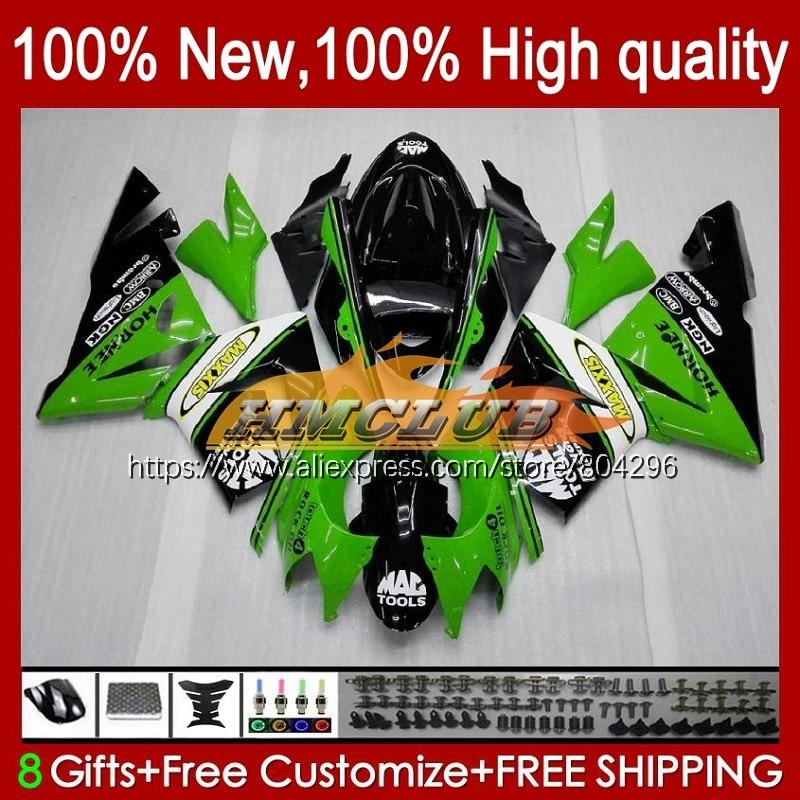 طقم الجسم ل كاوازاكي نينجا ZX 1000 CC ZX-10R 2004 2005 84No.18 ZX 10 R ZX1000CC 1000CC ZX 10R الأخضر الأسود ZX10R 04 05 هدية