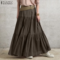 Весна 2021, Однотонная юбка ZANZEA, винтажный женский сарафан с оборками, повседневное длинное платье с эластичной талией, женское платье большо...