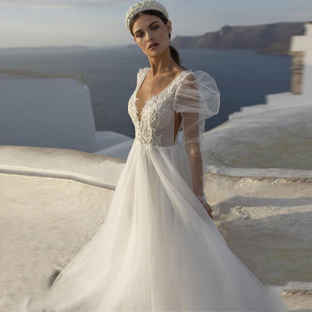 Get Princess A-Line V-Neck Wedding Dress Long Puff Sleeves  Appliques Backless Sweep Train Bridal Gowns 2021 Vestido De Noiva