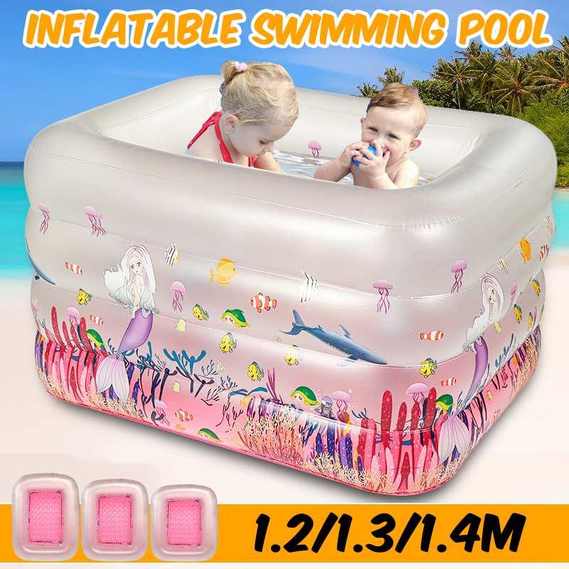 Piscina inflable para niños y adultos de 1,2 m, 1,3 m, 1,4 m, piscina infantil para remar al aire libre, piscina cuadrada inflable