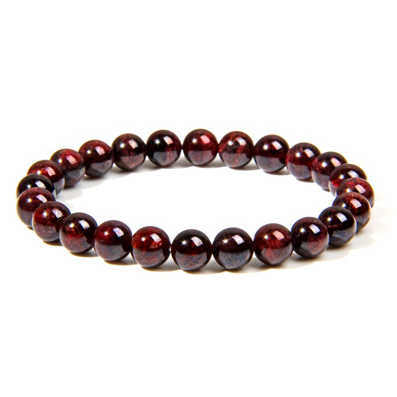 Natürliche Granat Perlen Armband Männer Armbänder für Frauen 8mm Wein Rot Perle Charme Armband Männer Schmuck Brazaletes Pulseras Mujer
