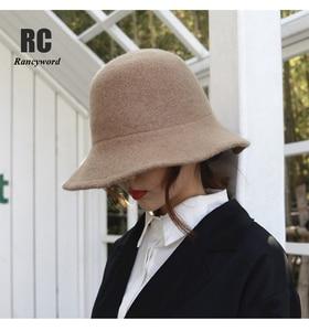 Soild Color Slouchy Warm Women Hats 100% Wool Neat Brim Winter Bucket Cloche Hat Felt Cone Hood millinery Fascinators Block Base