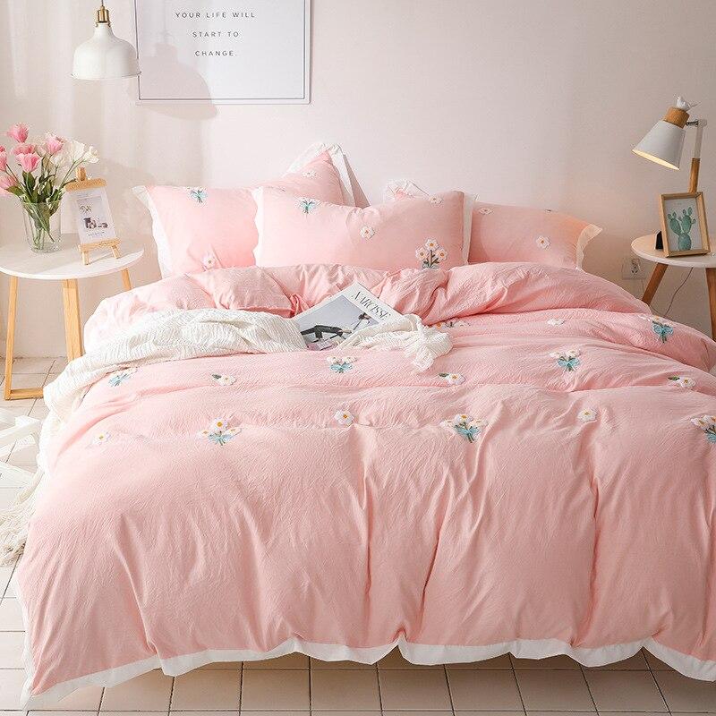 Juego de cama funda nórdica rosa margarita tamaño King tamaño Queen juegos de edredón sábanas fundas de almohada