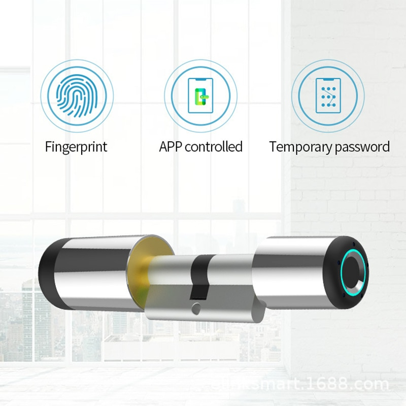 Get Fingerprint Lock Door Bluetooth Control Electronic Cylinder Biometric Home Security Zinc Alloy Smart Lock 21 Fingerprints