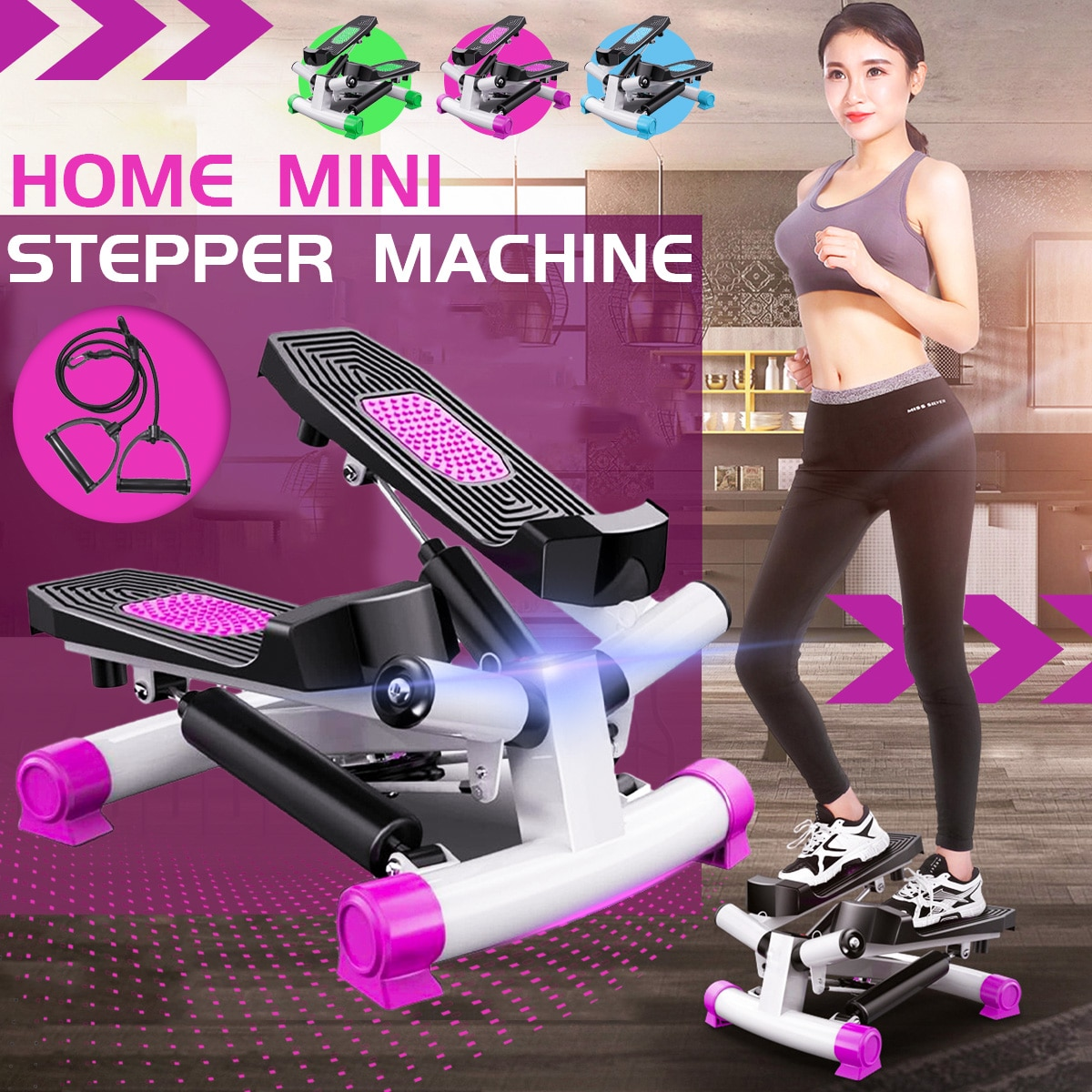 Stepper Home Mute Weight Loss Machine With Stretch Rope Situ Climbing Multi-Functional Mini Stovepip