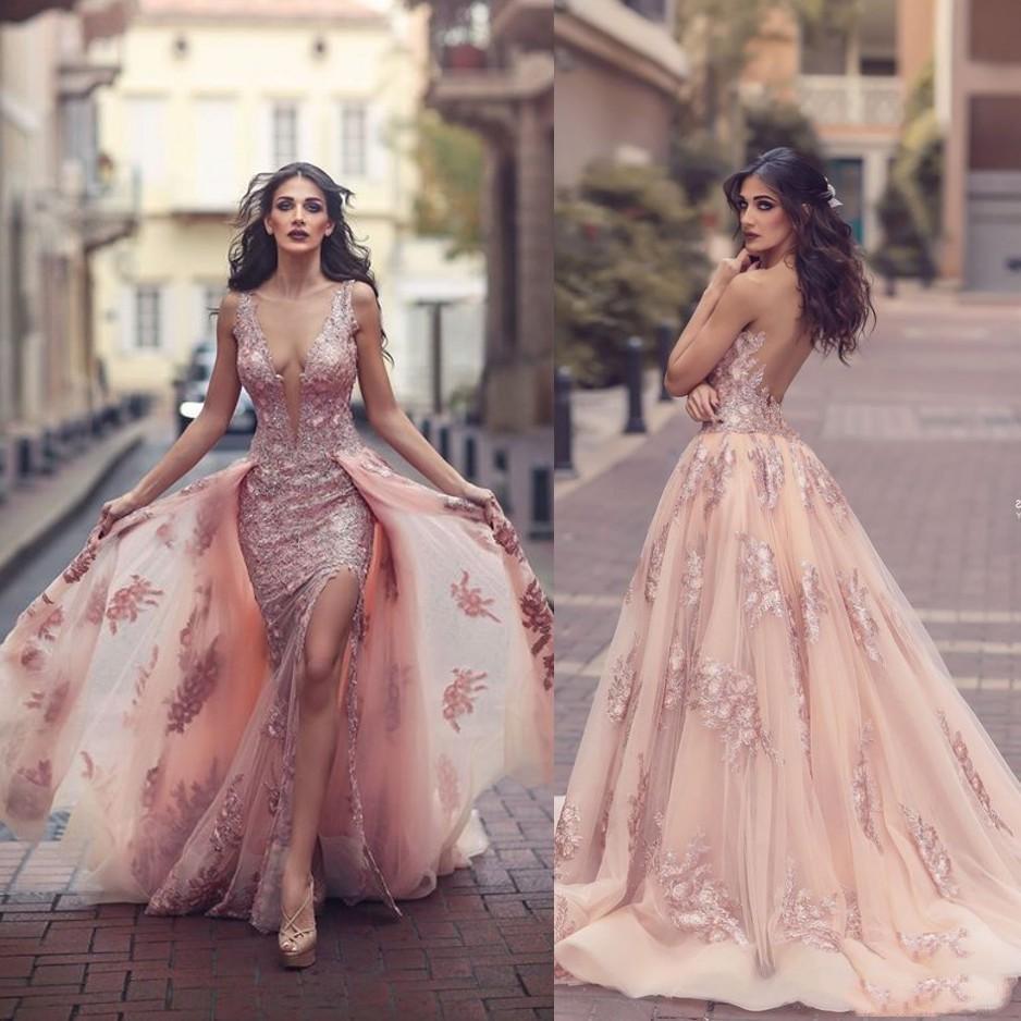 Vestidos de Noche de moda con falda de quita y pon cuello profundo vestidos formales sirena apliques vestidos de graduación con espalda descubierta