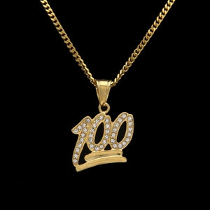 Man necklace Sweater chain Necklace pendant Gold with diamonds Stainless steelInlay rhinestones   Hip hop rock