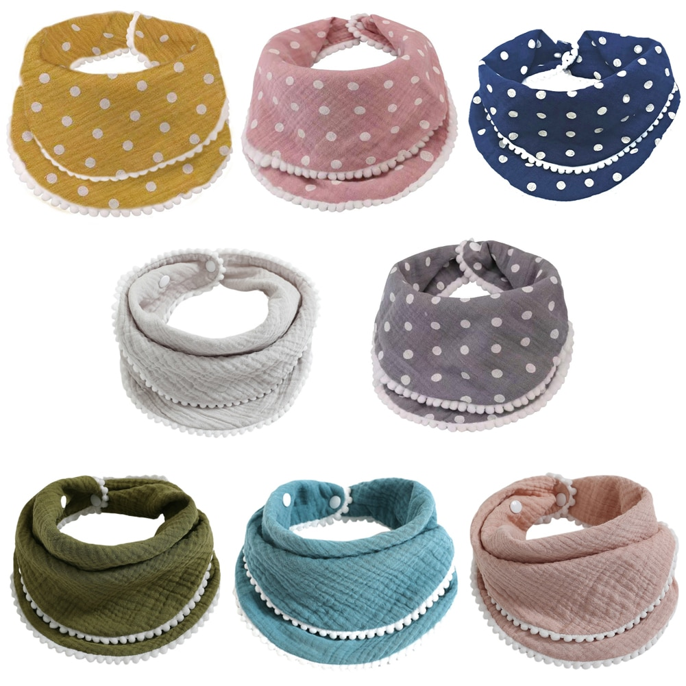 8pcs Baby Cotton Bibs Toddler Absorbent Triangle Saliva Towel Boy Girl Feeding Scarf Newborn Soft Drool Burp Cloths Infant Stuff