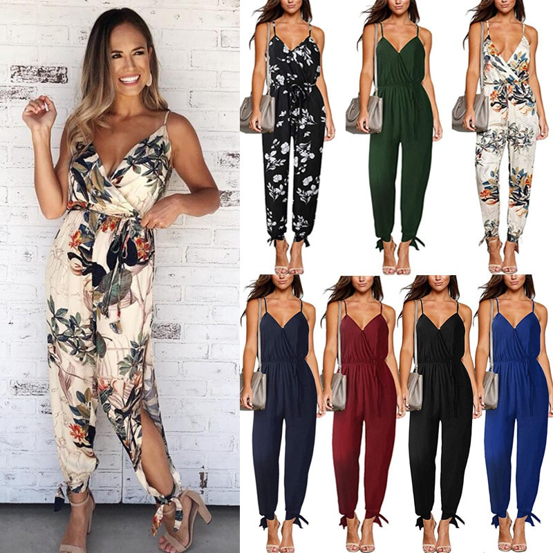 The new spring and summer 2021 sexy backless tether deep v-neck condole belt pants jumpsuits and fee