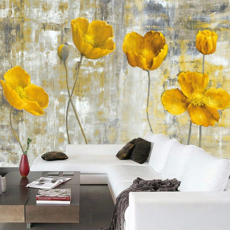 Murales de pared personalizados 3D, papel tapiz de estilo europeo Retro, Mural de flores abstractas, sala de estar arte para, dormitorio, papel tapiz no tejido