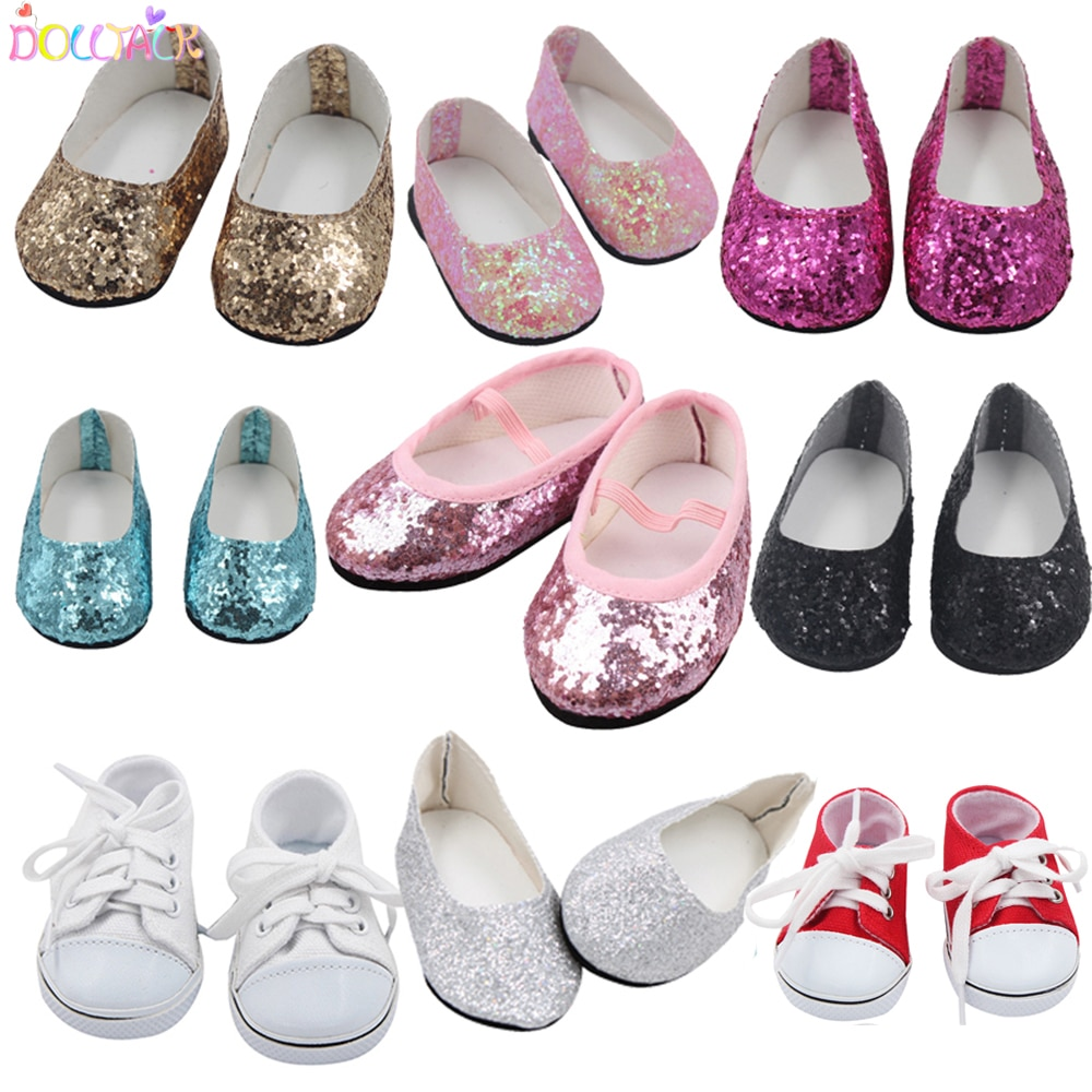 7cm 2020 New Fashion Baby Sequins Doll Shoes Manual Canvas Shoes For 43cm Dolls Baby New Born And 18