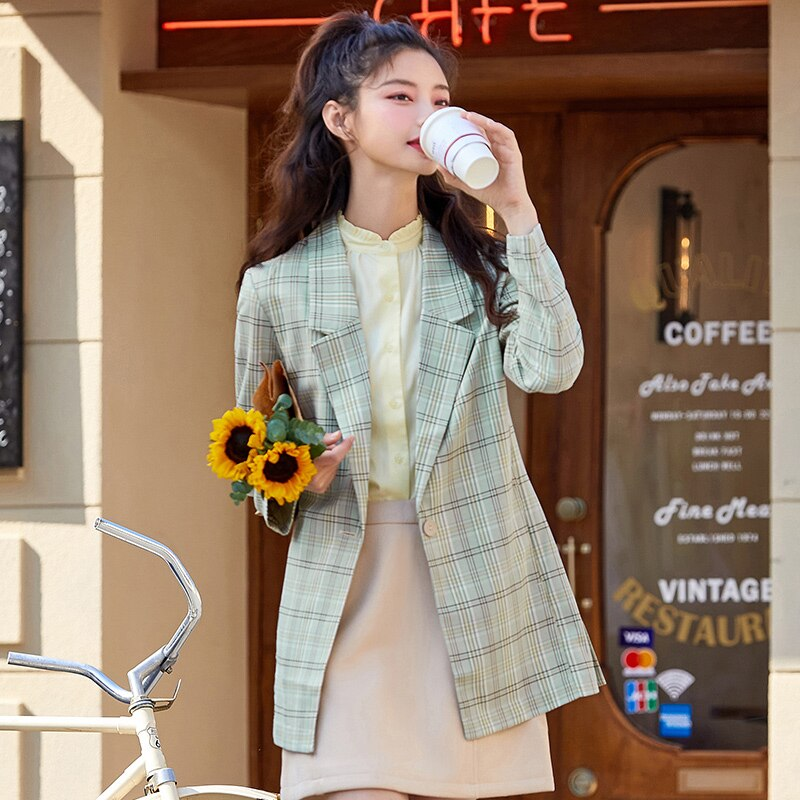 SEMIR Casual Suit Women 2021 Spring New Trend Hit Color Retro Check Professional WomenS Commuter