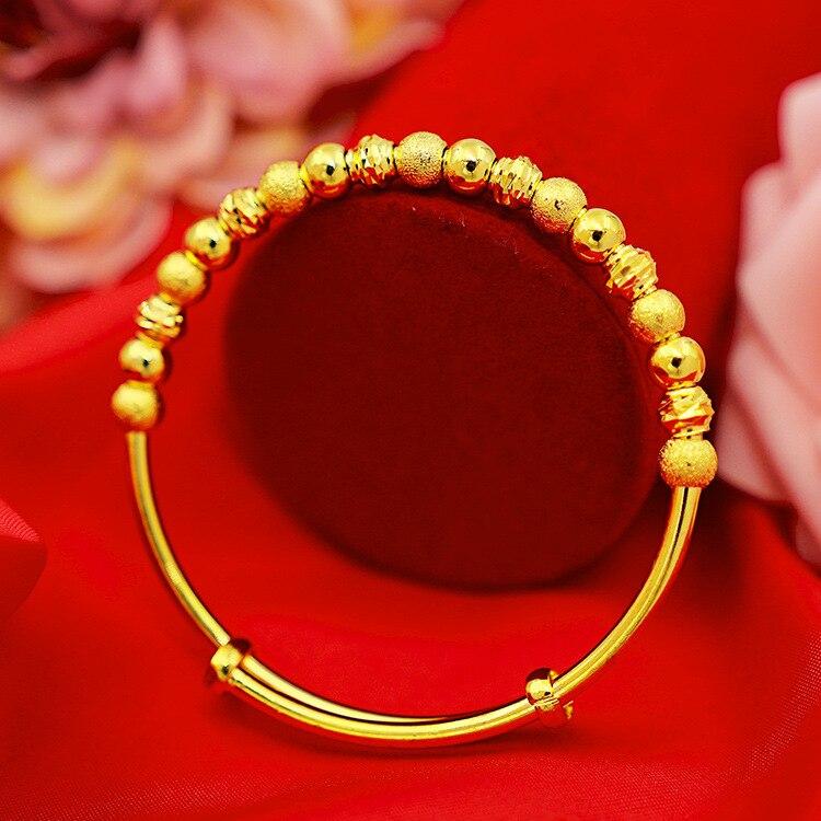 الرجعية الذهب اللون سوار للأم الأطفال غرامة مجوهرات الإناث الخرز دفع سحب محظوظ سوار سميكة الذهب هدية عيد ميلاد