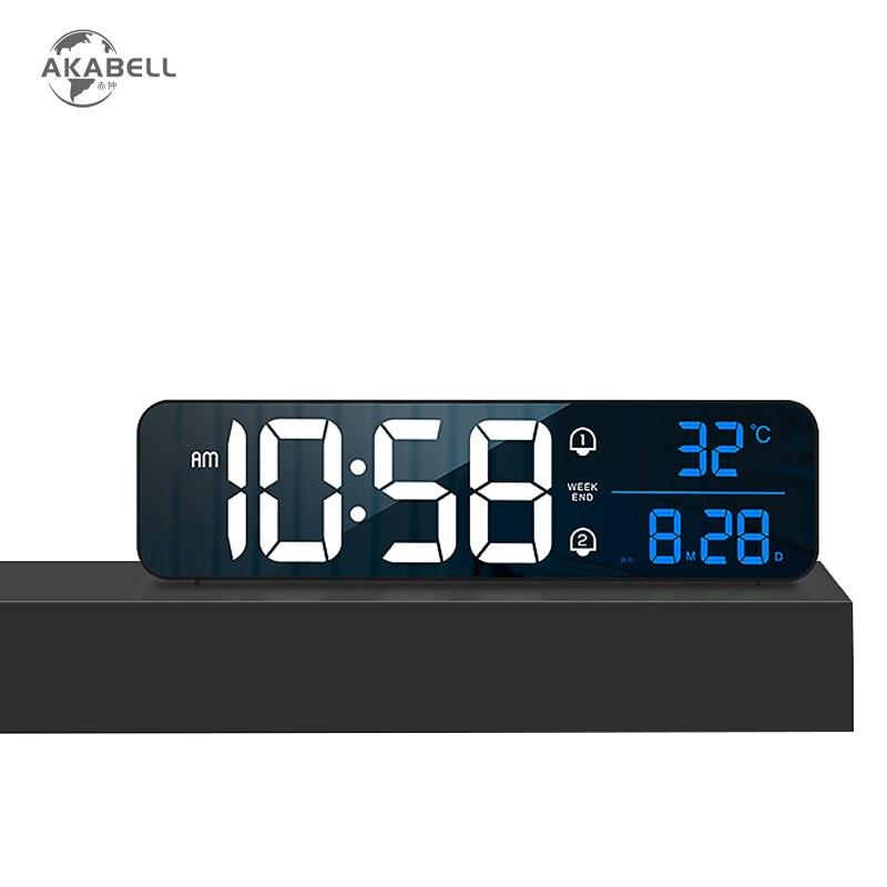 AKABELL اللاسلكية 10.4 بوصة ساعة تنبيه قابلة للشحن كبيرة وحدة إضاءة LED جداريّة الساعات الرقمية 40 نغمات الصوت المنشط تاريخ عرض درجة الحرارة